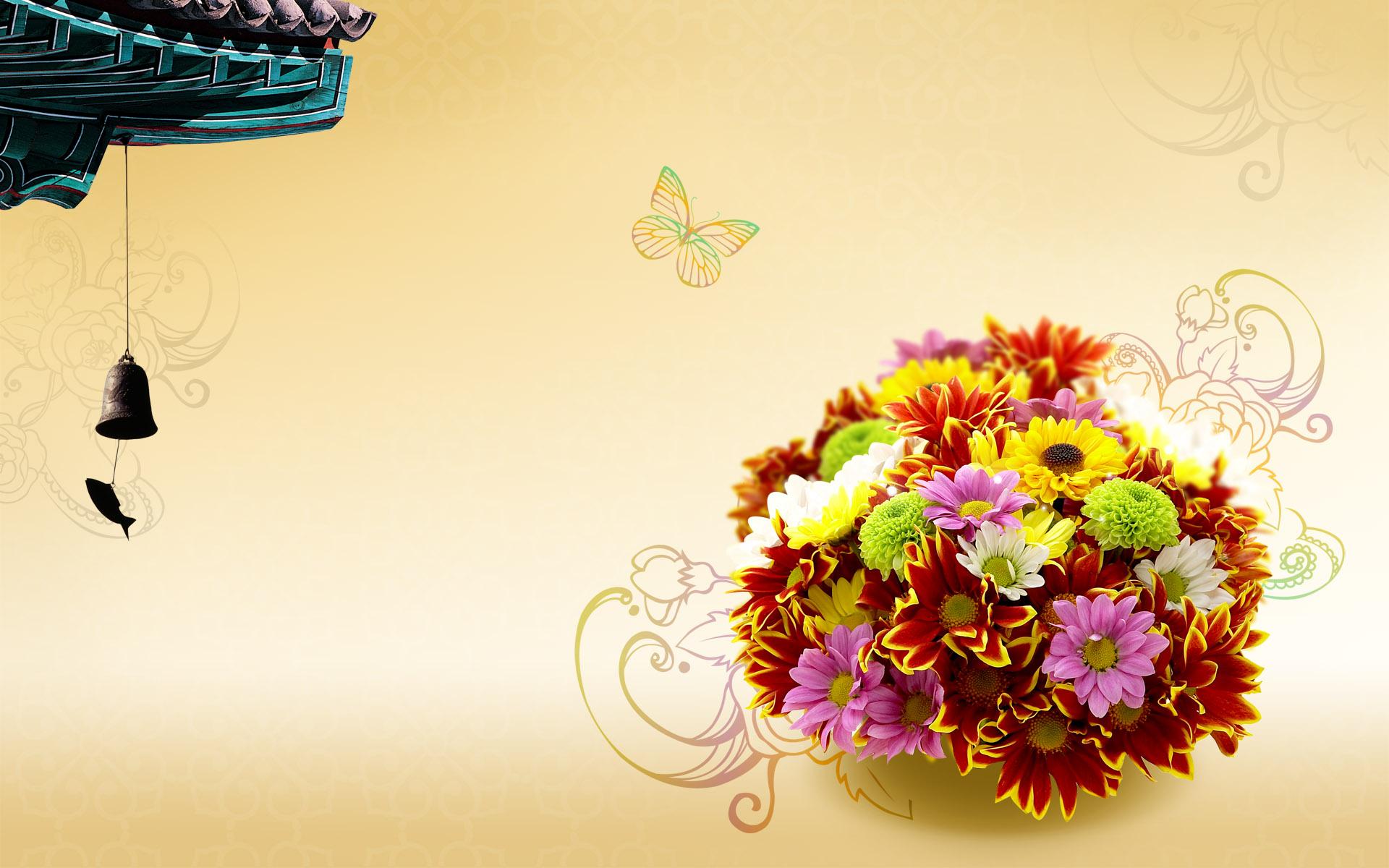 Цветы открытка шаблон